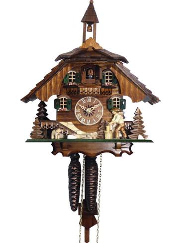4441 Wood Chopper Chalet 1 Day Cuckoo Clock