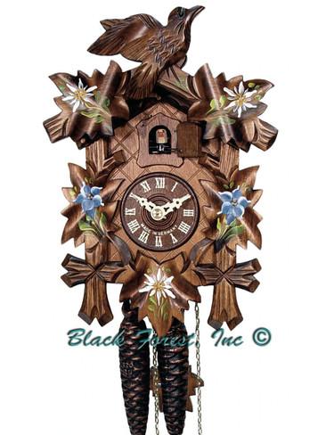 522-9 5 Leaf 1 Bird 1Day Painted Edelweiss Cuckoo Clock