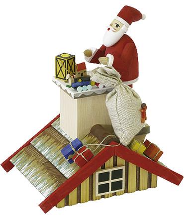 2601 Santa on Roof Erzgebirge Incense Burner Smoker