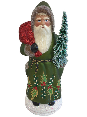 11-204 Santa Green Coat with Tree Schaller Paper Mache Candy Container