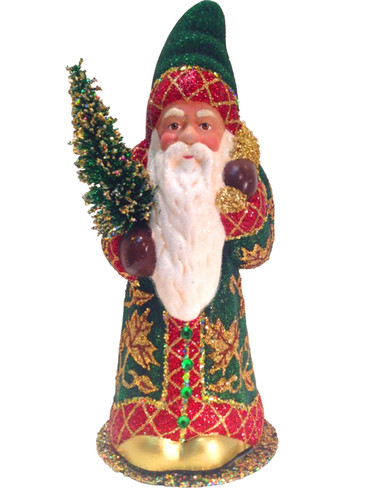 12286 Santa Green and Red Coat with Tree Schaller Paper Mache Candy Container