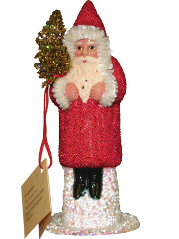 1315-0 Santa with Red Coat and Tree Schaller Paper Mache Candy Container