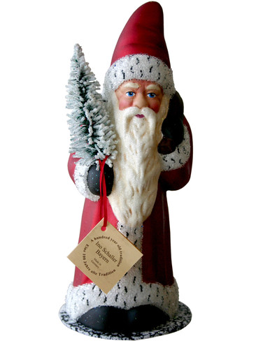 13282 Red Santa with Tree Schaller Paper Mache Candy Container