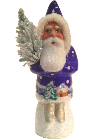1409 Blue Coat Santa with Tree Schaller Paper Mache Candy Container
