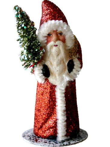 1413-3 Copper Glitter Coat Santa with Tree Schaller Paper Mache Candy Container