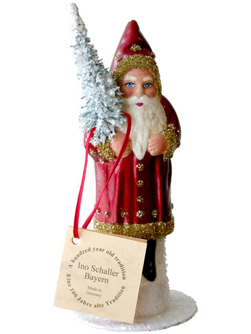 141519 Red Coat Santa with Tree Schaller Paper Mache Candy Container