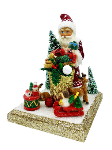 14208 Red Santa with Tree Schaller Paper Mache Candy Container