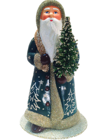 14252 Green Santa with Tree Schaller Paper Mache Candy Container