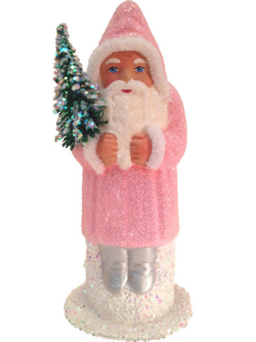 1559 Rose Santa with Tree Schaller Paper Mache Candy Container