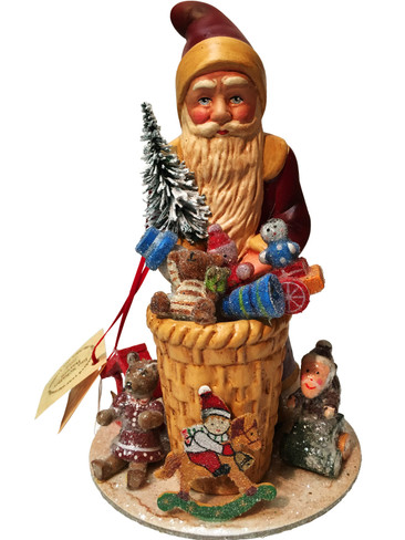 1745 Red Santa with Gifts Schaller Paper Mache Candy Container