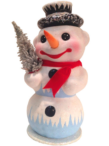 1850-4 Snowman with Tree Schaller Paper Mache Candy Container