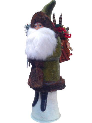 4443 Green Santa with Sack Schaller Paper Mache Candy Container