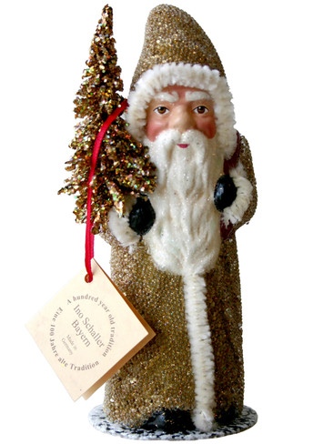 91712 Gold Santa with Tree Schaller Paper Mache Candy Container