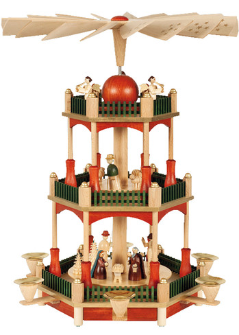 86022 Nativity Scene Candle German Pyramid