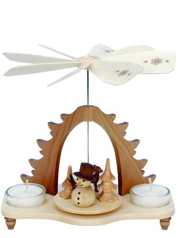 33-052 Snowman Natural Ulbricht Tea Light German Pyramid