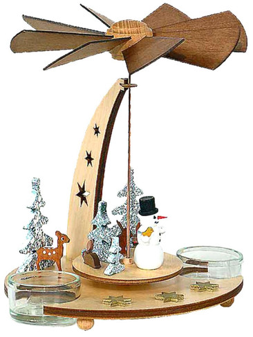 085-466 German Snowman Tea Light Pyramid