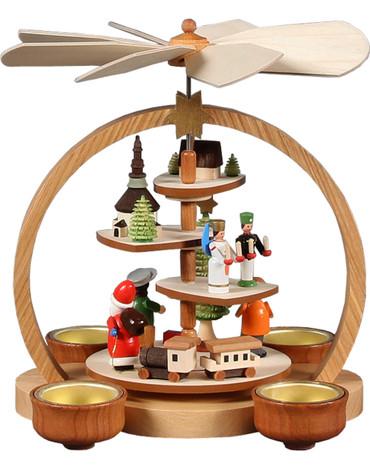 085-777B Natural Santa Scene Christmas Story Pyramid