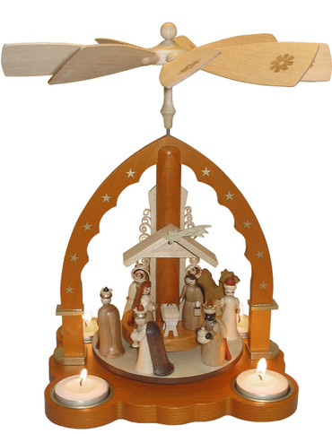 16093 Natural Nativity Scene Tea Light Christmas Story Pyramid