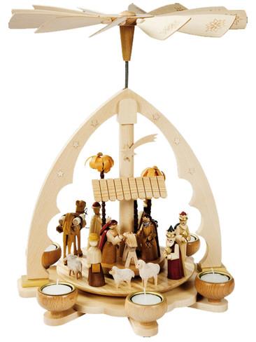 16192 Natural Nativity Scene Tea Light Christmas Story Pyramid
