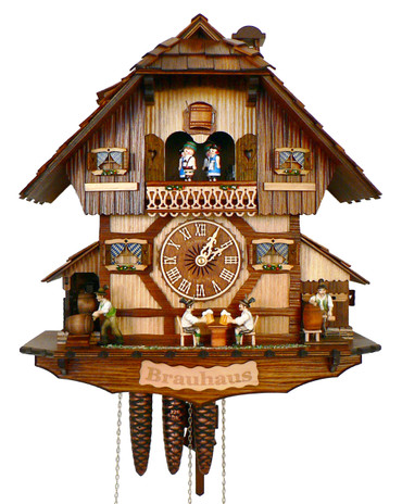 MT383-9 Musical Beer Drinkers and Keg Tapper Chalet 1 Day Cuckoo Clock