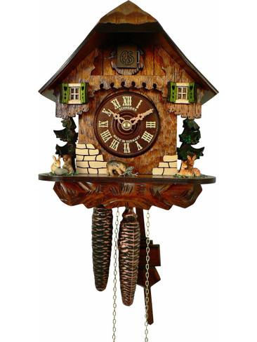 64-9 Anton Schneider Forest Scene Deer Rabbits and Boar 1 Day Cuckoo Clock
