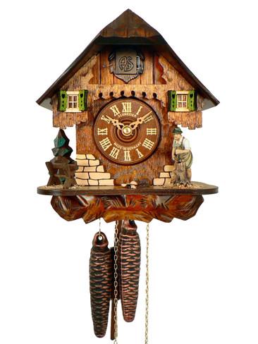 66-9 Anton Schneider Chalet Wood Chopper 1 Day Cuckoo Clock