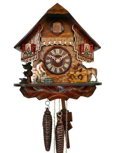 76-9 Anton Schneider Chalet Black Smith 1 Day Cuckoo Clock