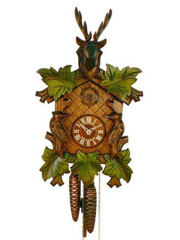 97-9 Anton Schneider Carved Green Leaves Deer and Birds 1 Day Cuckoo Clock