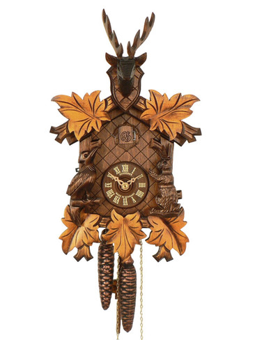 81-9 Anton Schneider Carved Yellow Leaves Hunters 1 Day Cuckoo Clock