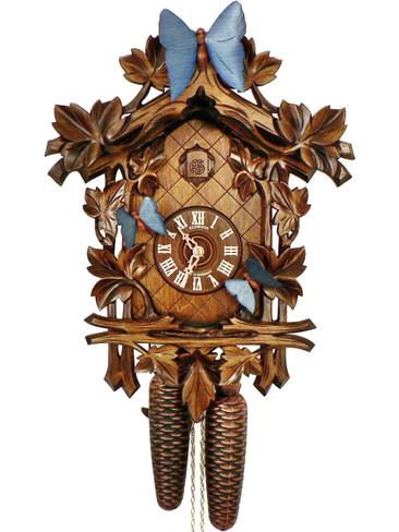 8T317-9 8 Day Anton Schneider Moving Butterflies Carved German Cuckoo Clock