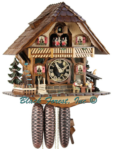 8TMT2555-9 Musical Beer Drinker Chalet 8 Day Cuckoo Clock
