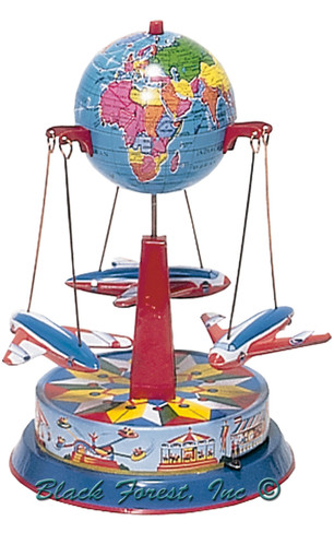 055MR Carousel with Planes Tin Toy made in Germany