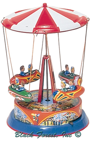 045MR Carousel with Rocket Ships Tin Toy made in Germany