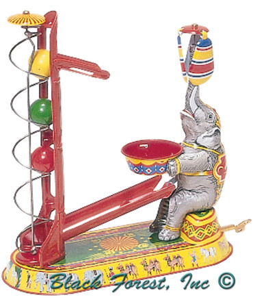 003MR Elephant with Spiraling Ball Tin Toy made in Germany