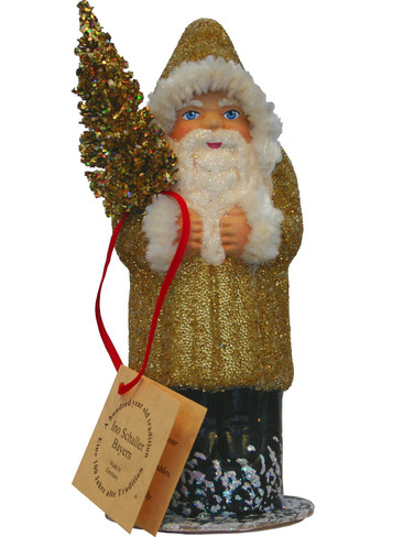 1559G Gold Santa with Tree Schaller Paper Mache Candy Container