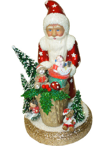 1750 Red Santa with Toys Schaller Paper Mache Candy Container