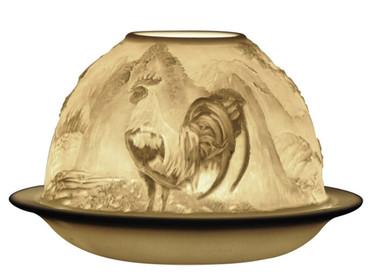 22166 Bernardaud Porcelain Year of the Rooster Lithophane Votive Candle