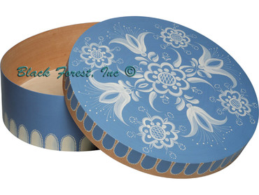 67-15B Round Splinter Box with Blue Floral Pattern from Wendt and Kuhn