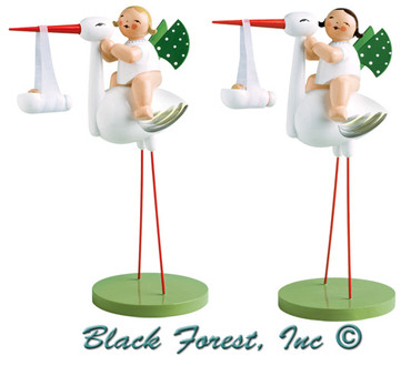 5254-11 Stork with Baby Boy and Girl Set from Wendt and Kuhn