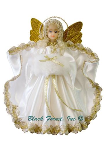 210-III-White Tree Topper Wax Angel with Muff