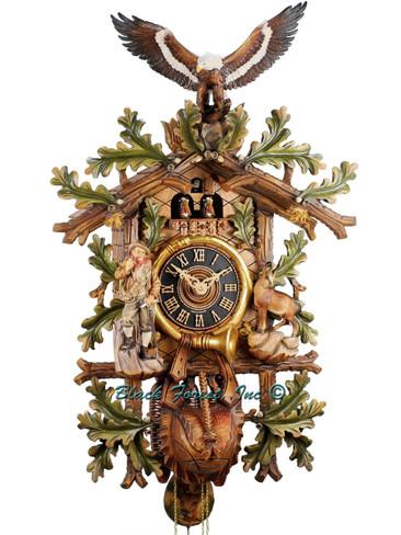 8667-8Tbu Hones Large 8 Day Painted Hunters Cuckoo Clock