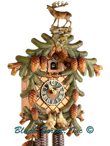 883-4BU Hones 8 Day Stag and Owls Cuckoo Clock