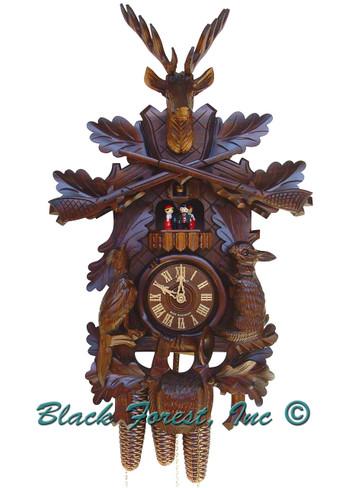 8TMT285-9 8 Day Live Animals Hunters Anton Schneider Cuckoo Clock