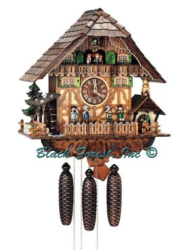 8TMT1373-9 Anton Schneider 8 Day OOM PAH Band Cuckoo Clock