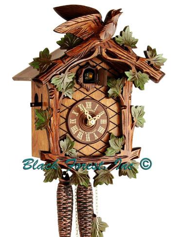 48-10 1 Bird 1 Day Painted Green Leaves Anton Schneider Cuckoo Clock