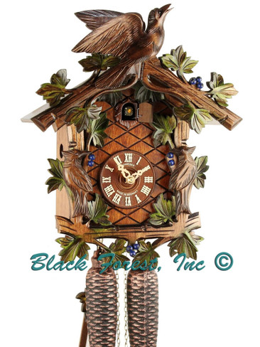 8T 337-10 8 Day 3 Bird Anton Schneider Painted Carved German Cuckoo Clock