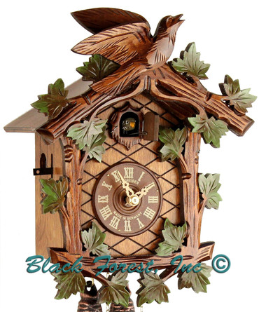 8T 48-10 8 Day 1 Bird Anton Schneider Painted Carved German Cuckoo Clock