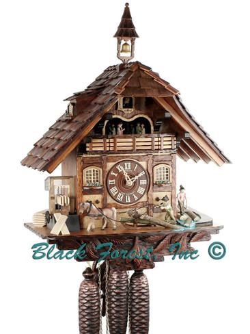 8TMT 1967-9 Anton Schneider 8 Day Saw Mill Cuckoo Clock