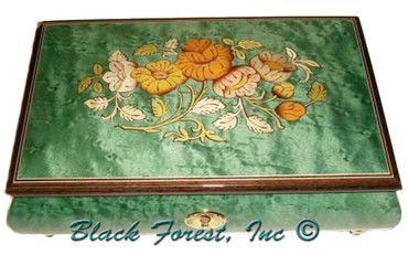 02 CF-GREEN Floral Inlay Medium Italian Music Box