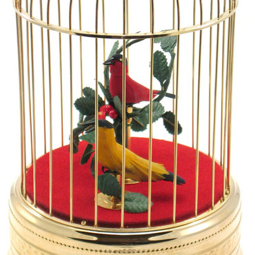 104-2 Birds-Gold Singing Bird Cage from Germany
